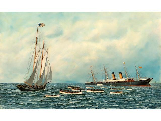 (n/a) Antonio Nicolo Gasparo  Jacobsen (American, 1850-1921) The Sinking of the S.S. Oregon 22 x 36 in. (56 x 91.5 cm.)