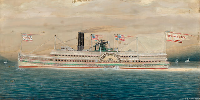 (n/a) James Bard (American, 1815-1897) The Hudson River Paddle Steamer New York 17 x 33-1/4 in. (43.1 x 84.4 cm.)