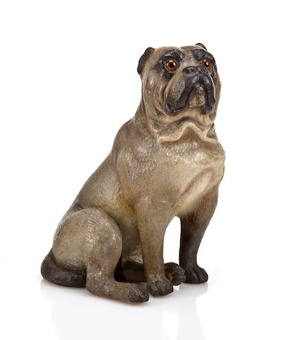 (n/a) British School, 19th century A painted plaster figure of a seated pug  height 13 1/4in (33.6cm).