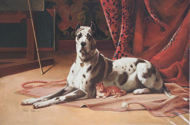 Arthur Faille (American, circa 1900) A cosy place 37 13/16 x 57 5 1/6 in. (96 x 145.5 cm.)