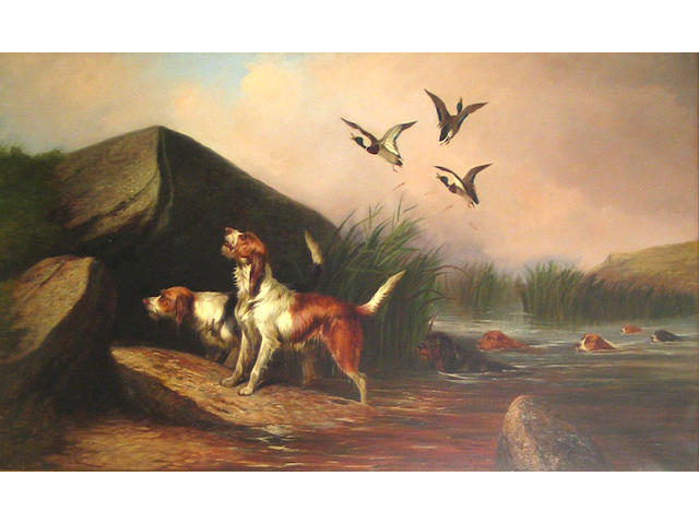 Colin Graeme (British, 1858-1910) Otter hounds and ducks 30 x 50in