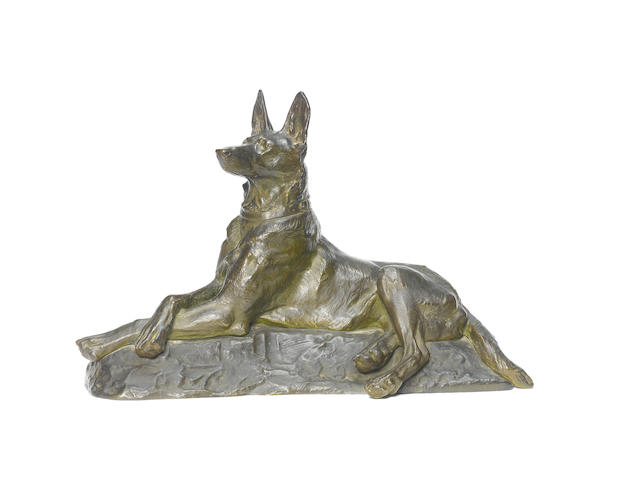 Maximilien Louis Fiot (French, 1886-1953) Bronze sculpture of a German Shepherd 12 x 19 11/16 in. (30.5 x 50 cm.)