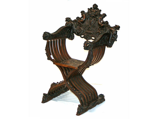 A Renaissance revival style Saverola chair, last quarter 19th century