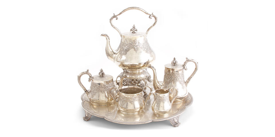 Victorian silver five piece tea and coffee set with matching tray by Robert Hennell II