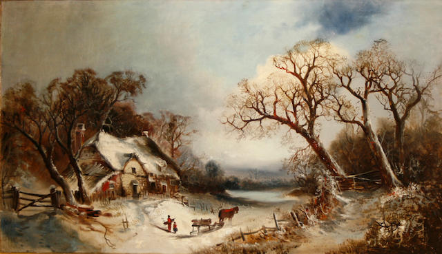 Continental School, 19th Century A winter landscape with a farmhouse and figures in the foreground 24 x 42in