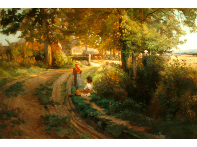 Attributed to Emily L. Long (British, active 1890-1894) A summer landscape with two young girls resting by a lane 36 x 54in