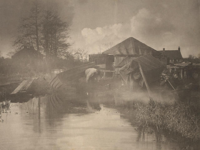 Peter Henry Emerson (British, 1856-1936); A Norfold Boat Yard;