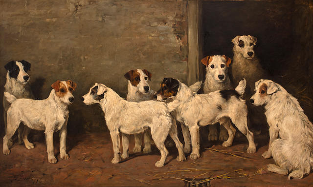 John Emms (British, 1843-1912) Eight Wire Fox Terriers in a kennel 36 x 60in (91.4 x 152.4cm)