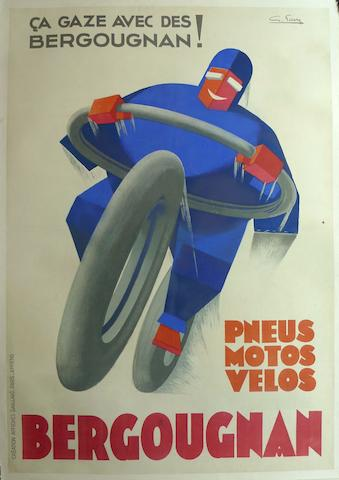 A rare and original Bergougnan tires for motorcycles & bicycles poster,