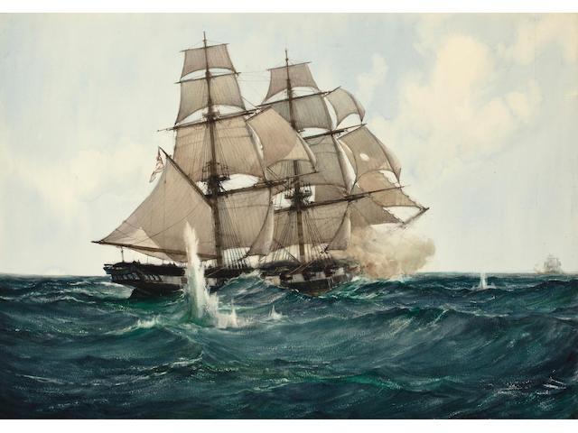 Montague Dawson (British, 1890-1973) Chasing the Slaver: Her Majesty's brig Acorn in chase of the slaver Gabriel 21 x 30 in. (53.3 x 76.2 cm.)