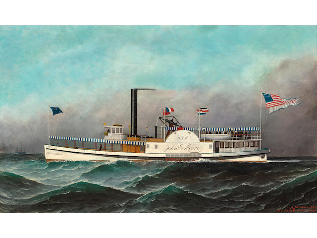 (n/a) Antonio Nicolo Gasparo  Jacobsen (American, 1850-1921) The US Mail Steamer John E. Moore at Sea 18 x 30 in. (45.7 x 76.2 cm.)