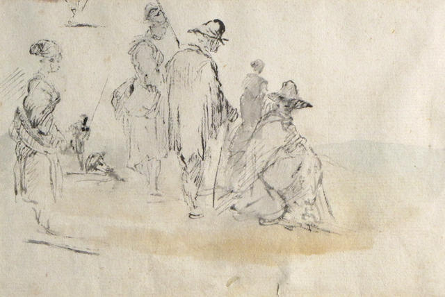 Jean-Baptiste Pillement (French, 1728-1808) Studies of Peasant Figures: a double sided work 4 5/8 x 7in (11.7 x 17.7cm)