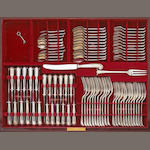 Elizabeth II Onslow silver flatware set by Vander in pair mahogany canteens on stands