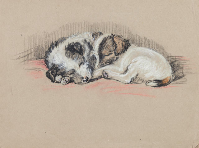 Lucy Dawson (British, -1954) Mike & Jim - Wire-haired Terrier puppies 10 11/16 x 11 1/8 in. (27.2 x 28.2 cm.) unframed