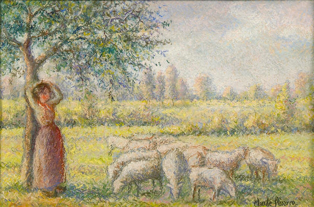 Claude Pissarro, Young Lady in a Field with Sheep, pastel on paper