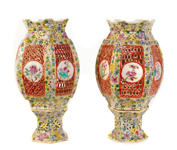 A pair of Chinese enameled porcelain wedding lamps with mille fleurs decoration
