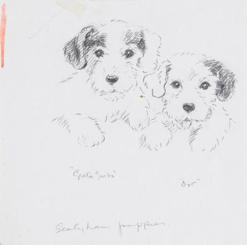 Lucy Dawson (British, d. 1954) Greta Garbo & Dot - Sealyham puppies 6 7/16 x 6 1/2 in. (16.4 x 16.5 cm.) unframed