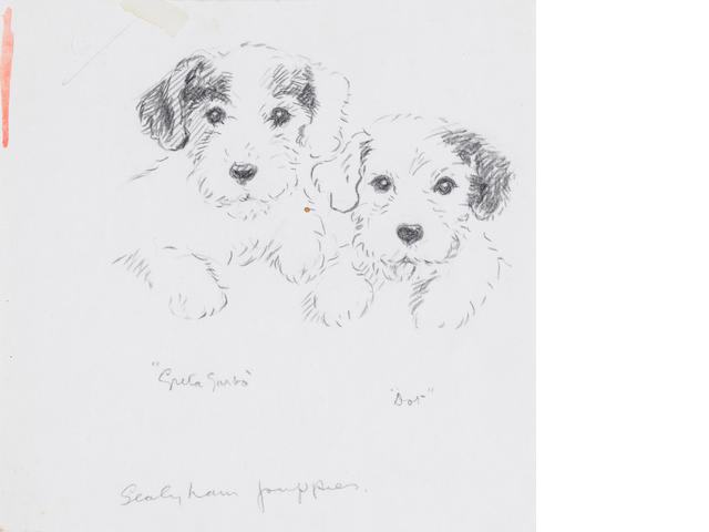Lucy Dawson (British, -1954) Greta Garbo & Dot - Sealyham puppies 6 7/16 x 6 1/2 in. (16.4 x 16.5 cm.) unframed