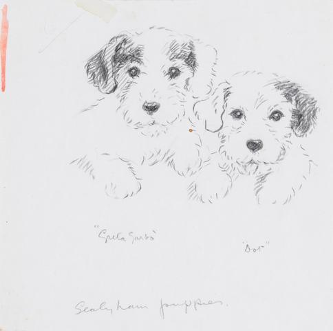Lucy Dawson (British, -1954) Greta Garbo & Dot - Sealyham puppies 6 7/16 x 6 1/2 in. (16.4 x 16.5 cm.) unframed
