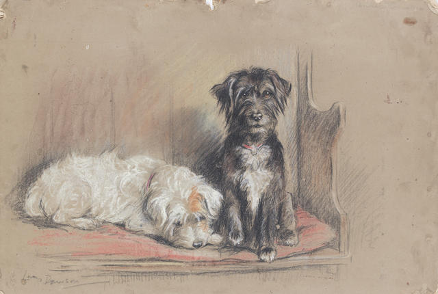 Lucy Dawson (British, d. 1954) 'Country Cousins' - Two Wire-haired Terriers 10 5/8 x 15 11/16 in. (27 x 39.9 cm.) unframed