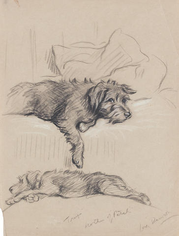 Lucy Dawson (British, -1954) 'Country Cousins' - Two Wire-haired Terriers 10 5/8 x 15 11/16 in. (27 x 39.9 cm.) unframed