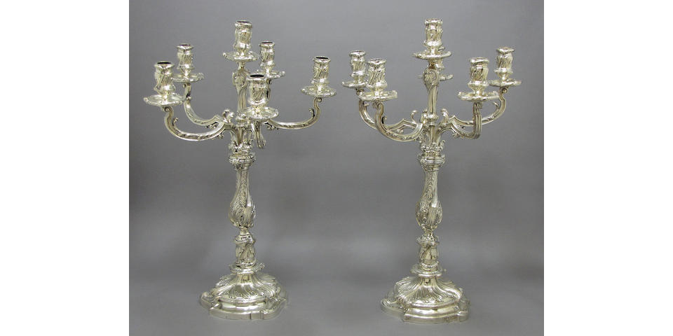 French plated pair six-light candelabra by Christofle