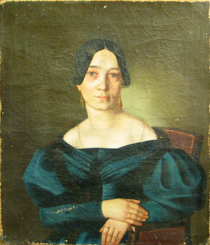 Carl Ludwig Philippot (French, 1801-1859) A portrait of a lady in a blue dress 15 x 13in unframed