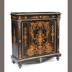 A Napoleon III marquetry marble top meuble d'appui, late 19th/ early 20th century