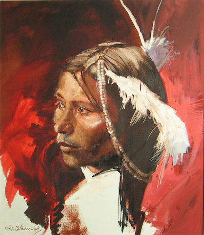 (n/a) Oleg Stavrowsky (American, born 1927) White Face, Sioux 24 1/4 x 20 1/4in