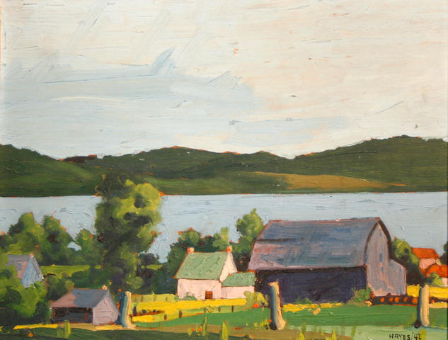 Hayes (Canadian, 20th Century) Farm by a lake, 1942 10 x 12in