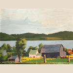 Hayes (Canadian ?), Farm by a lake, '42, o/bd