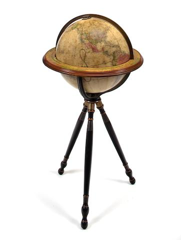 A 16-inch Terrestrial floor globe  late 19th century 44 in. (111.7 cm.) overall height.