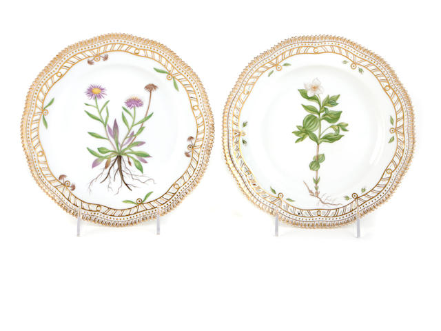 A set of twenty-eight Royal Copenhagen 'Flora Danica' salad plates