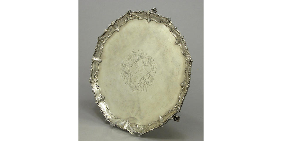George III silver tripod salver by John Carter