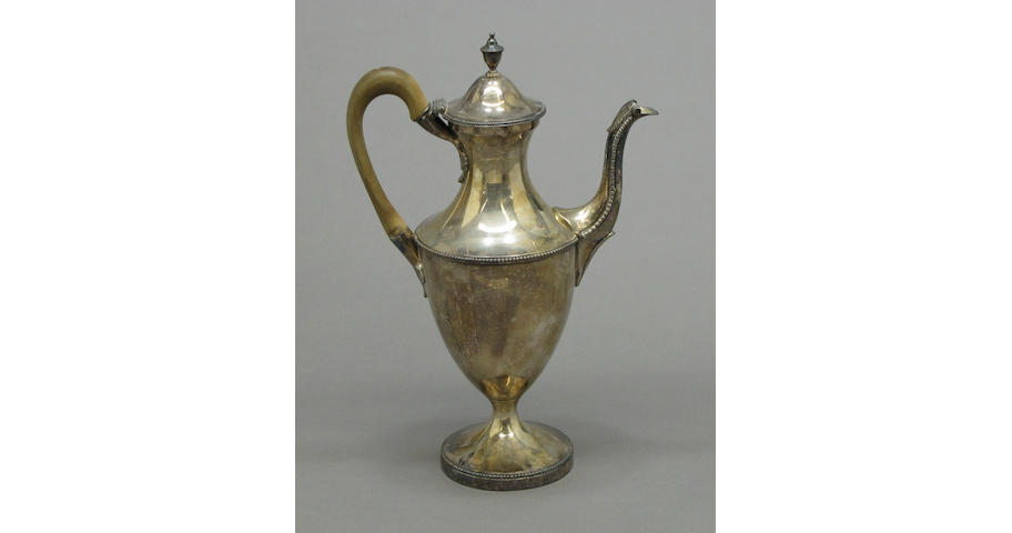 George III silver coffee pot with wooden handle by Walter Brind