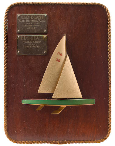 A half model with sails of a 110 racing yacht  20th century) 16-3/4 x 12-3/4 in. (42.5 x 32.3 cm.)