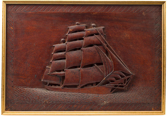 A bas-relief carved American clipper ship  19th century 15-1/4 x 22 in. (38.7 x 55.8 cm.)