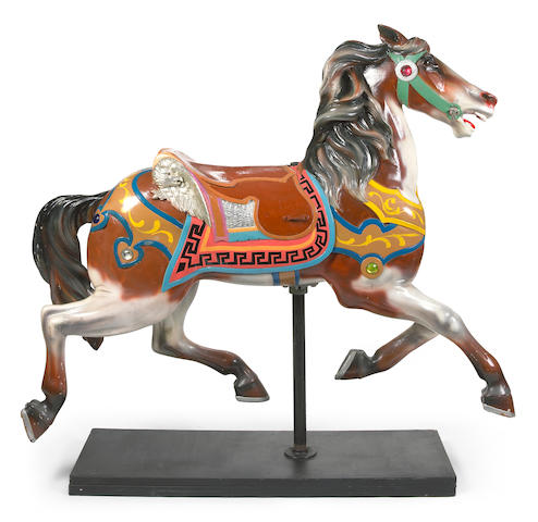 An American carved giltwood and painted carousel horse on stand<br>attributed to Charles Looff<br>circa 1900