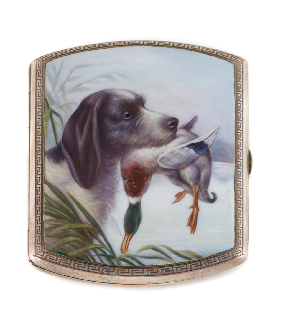 Continental 935 standard silver and enamel gent's cigarette case with scene of a hunting dog retrieving a duck