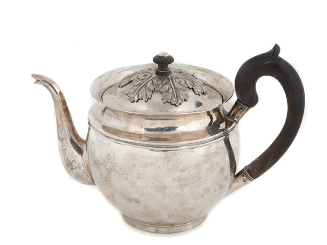 Russian silver teapot with wooden fittings from Polotsk