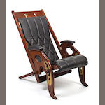 A British rosewood and brass inlaid yachting chair