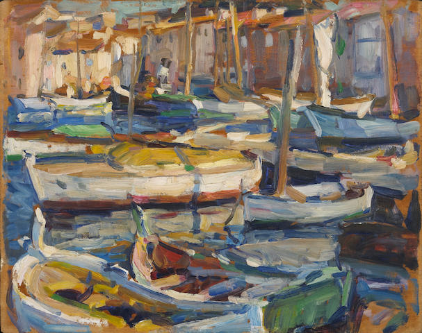 E. Charlton Fortune (1885-1969) St. Tropez Harbour 12 3/4 x 16in