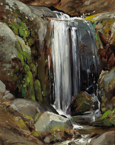 A.R. Mitchell, Waterfall, o/bd (in an artist made frame)