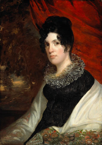 John Wesley Jarvis<br>oil on board<br>Portrait of Lucy Maverick, wife of Samuel Maverick<br>circa 1818