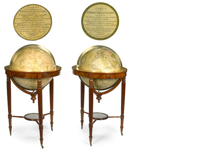 A good pair of Regency twenty-one inch celestial and terrestrial floor globes <br>by Cary's<br>first quarter 19th century