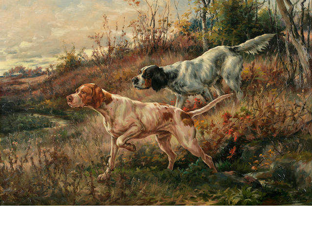 Edmund Henry Osthaus (American, 1858-1928) Pointer and setter on point 24 x 36in