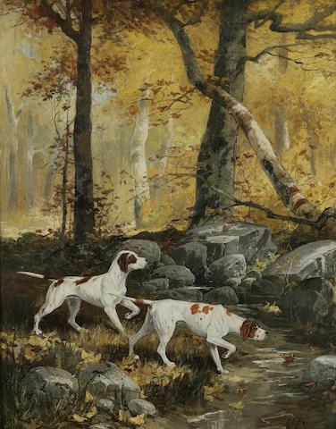 A. Emile Prinz (American, born 1856) Two English Pointers crossing a creek 20 x 16 in. (50.8 x 40.6 cm.)