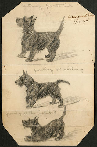 Marguerite Kirmse (American, 1885-1954) Scottie studies 6 3/4 x 4 3/8 in. (17.1 x 11.1 cm.) with trimmed corners