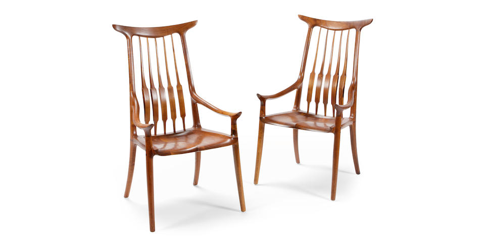 A Sam Maloof pair of horn-back spindle chairs