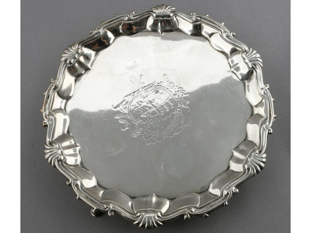 George II silver tripod salver by William Peaston